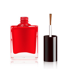 red nail polish in the bottle isolated on white vector image