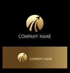 round rise arrow gold business logo vector image vector image