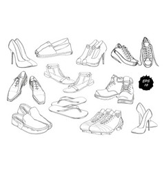 Set hand drawn graphic men and women footwear vector