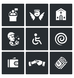 Set of Church and Faith Icons Pastor vector image