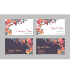 Set of two double-sided floral business cards vector image