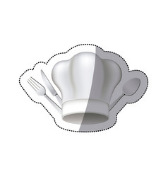 sticker chef hat with cutlery kitchen elements vector image