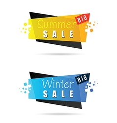 summer and winter sale tag icon in colorful vector image vector image