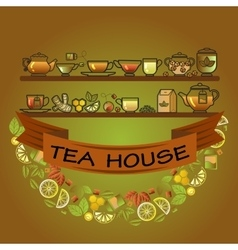 Tea house card cup leaf lemon pot and brown vector
