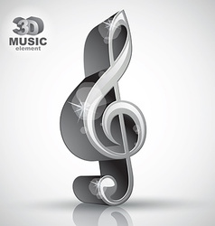 Treble clef 3d metallic music design element vector