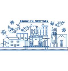 usa new york brooklyn winter city skyline merry vector image