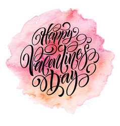 valentines day card with lettering in pink vector image vector image