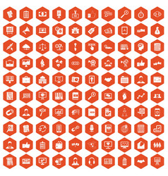 100 business training icons hexagon orange vector