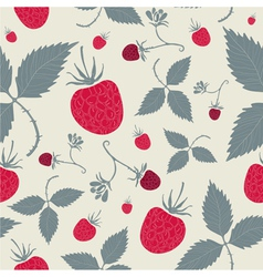 Raspberries seamless pattern vector