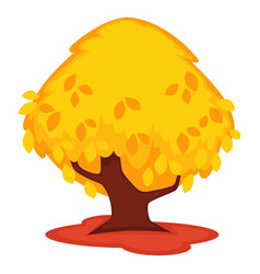 strong old tree with yellow leaves isolated on vector image