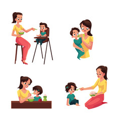 Mother feeding her baby son daughter sitting vector