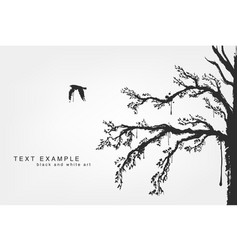 Figures of flying birds trees in grunge style vector
