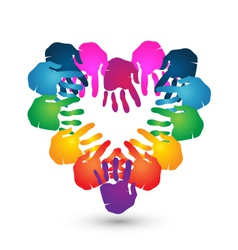 Hands teamwork heart shape logo vector