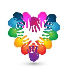 Hands teamwork heart shape logo vector image