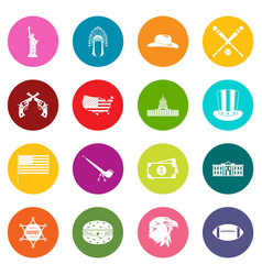 Usa icons many colors set vector