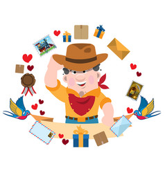 Man in cowboy hat greets everyone envelopes vector