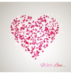 Heart from the gentle rose petals vector image