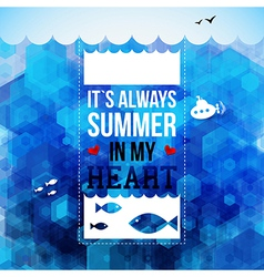 Bright summer holidays poster hexagon background vector