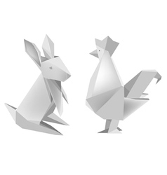 Paper rabbit and rooster vector