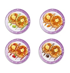 Set of pancakes with sauces vector