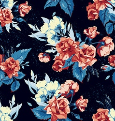 Seamless floral pattern with red roses on blue vector