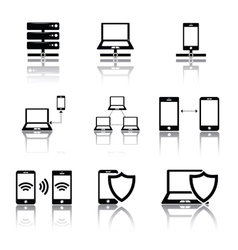 Network connections icons set vector