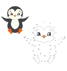 Connect the dots game penguin vector