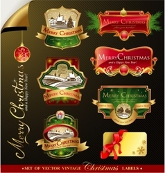 Christmas vintage labels vector