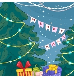 Card with Christmas trees gifts light decoration vector image