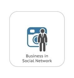 Business in social network icon flat design vector