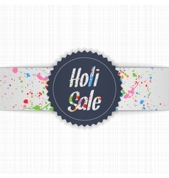 Holi sale blue emblem with white ribbon vector