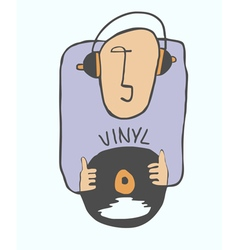 Music lover on vinyl vector image