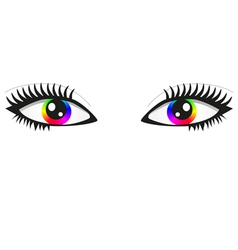 Pair of bright rainbow eyes vector