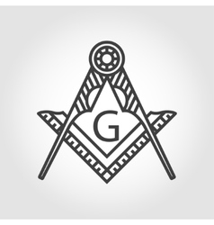 Grey masonic freemasonry emblem icon vector