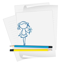 A paper with a drawing of a girl holding a flower vector