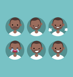 Afro american man profile pics set of flat vector