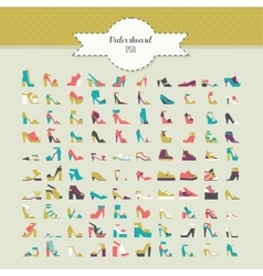 Big beautiful bundle with flat women shoes in vector image