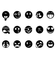 black face icons vector image
