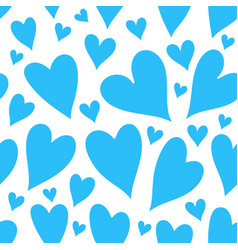 Blue hearts seamless patter vector