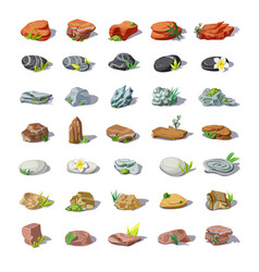 Cartoon colorful stones set vector