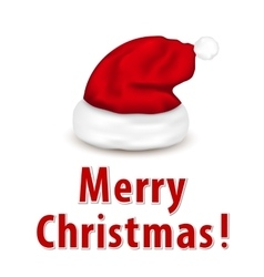 Christmas card with Santa hat vector image
