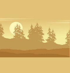 Collection of spruce forest silhouette vector