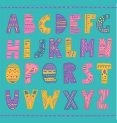 Colorful hand drawn tribal font vector