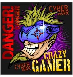 Crazy gamer - emblem for t-shirt vector