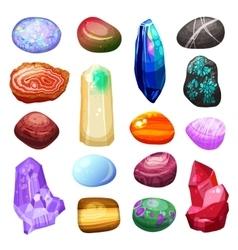 Crystal Stone Rocks Icons Set vector image vector image