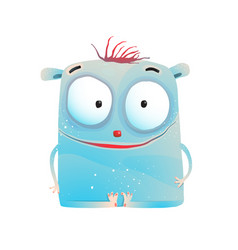 Cute little blue kids monster vector
