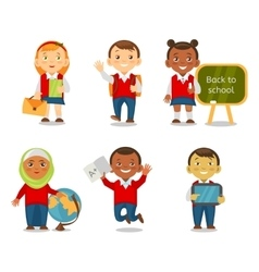 Different ethnic kids back to school vector image