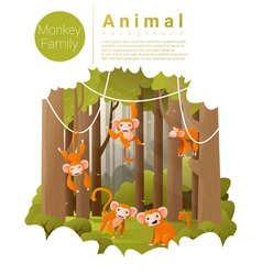 Forest landscape background with Monkeys vector image