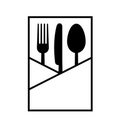 fork knife and spoon in a napkin vector image