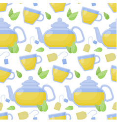 Green tea seamless pattern vector